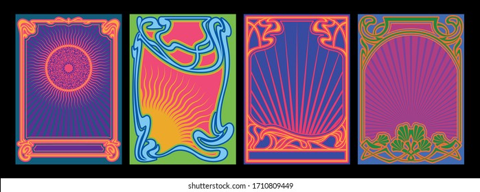 Art Nouveau Frames and Decor, Psychedelic Color Music Poster, Cover Templates 1960s, 1970s Style