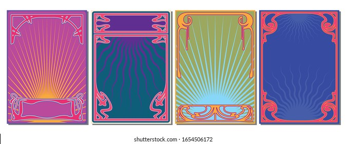Art Nouveau Frames, Psychedelic Colors from the 1960s, Hippie Art Rock Music Posters Style