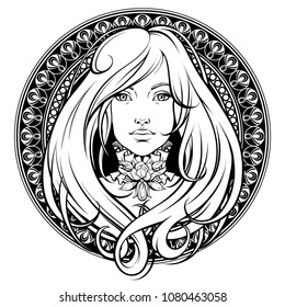 Art Nouveau. Girl with long hair. Black and white illustration. Ornamental frame.