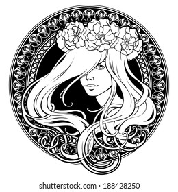 Art Nouveau. Girl in wreath. Ornamental frame.