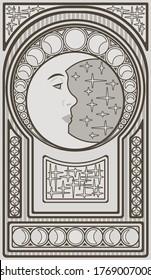 Art nouveau moon background, vector illustration