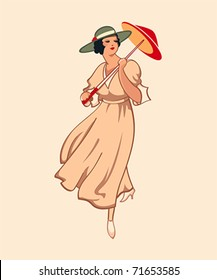 Art nouveau spring fashion girl with umbrella