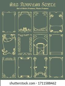 Art Nouveau Style Decorative Vignette Set, Borders, Frames, Photo Frames from the 1920s, 1930s