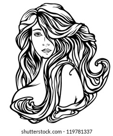 Art Nouveau style woman with gourgeous hair - fine black and white vector outline