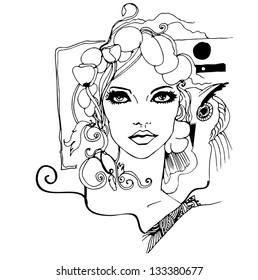 art nouveau style woman portrait - vector illustration