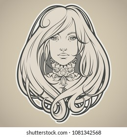 Art Nouveau styled girl with long hair