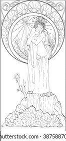 Art Nouveau styled woman in floral frame and waterfall. Pattern for invitations, posters, antistress coloring, flayers, spa, beauty salons, design.