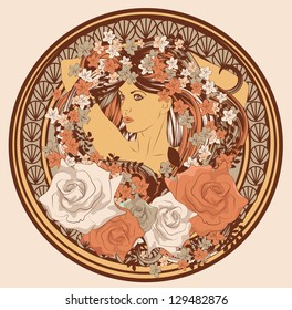 Art Nouveau styled woman with long hair flowers and frame