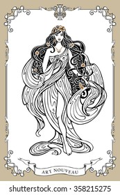 Art Nouveau styled woman with long flowing hair and drapery dress and swirl frame.Vintage art design.Beautiful female,girl.Vector graphics template.Fashion illustration.Antique drapery dress,goddess