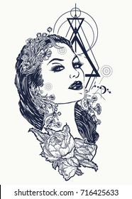 Art nouveau woman tattoo and t-shirt design. Symbol of a retro, queen, princess, lady, elegance, glamour, renaissance