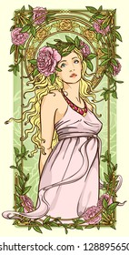 Art Nouveau woman in vertical floral border
