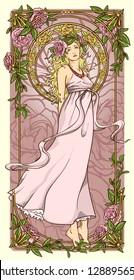 Art Nouveau woman in vertical floral border