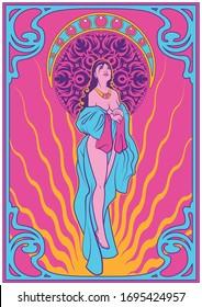 Art Nouveau Women Poster Psychedelic Art