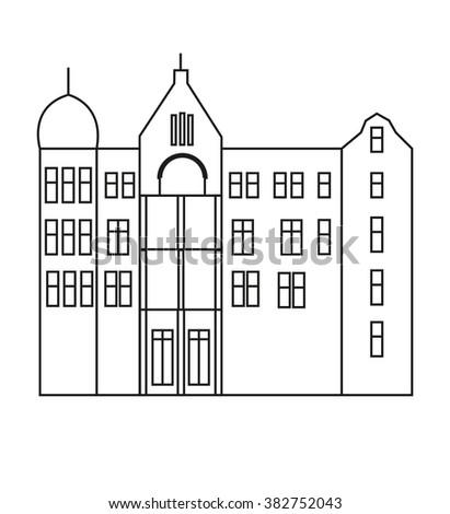 art nuveau kharkov building flat illustration stock vector royalty