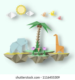 Art Origami Paper Abstract Concept, Applique Scene with Cut Elephant, Giraffe and 3D Fly Island, Papercut Amazing Artwork. Cutout Template with Elements, Symbols for Card. Vector Illustrations Art Des