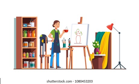 Art painter artist woman drinking tea and relaxing after finishing still-life sketch in workshop studio room with canvas, easel, paints, brushes. Flat vector painter character isolated illustration