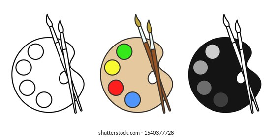 Art palete icon. Vector logo with wood artist palette and two brushes.