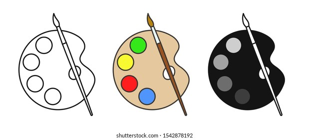 Art palete icon. Vector logo with wood artist palette and one artist brush.