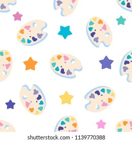 Art palette with stars flat icon,eps 10 seamless pattern background