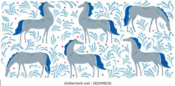 Art panels horses. Decorative painting