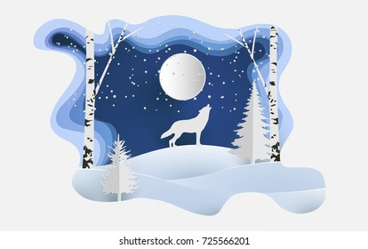 Art paper design with scenery in winter and snow. wolf in the snowy hill. posters and wallpaper or a beautiful background