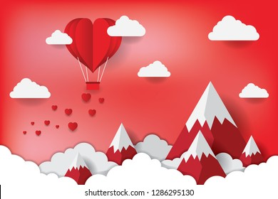 Art paper heart balloons fly on the mountain and spread a small heart in the sky. vector illustration. Wallpapers, leaflets, invitations, posters, brochures, banners. EPS 10