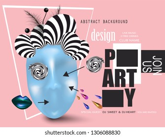ART PARTY invitation card with mask and objects. Vector illustration