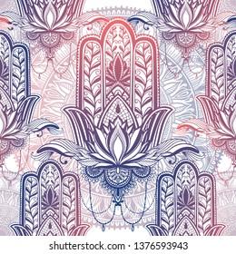 Art pattern hamsa mandala. Ethnic abstract print. Colorful repeating background texture. Culture bohemian ornament.Vector illustration.