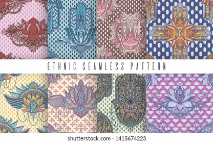 Art  pattern set lotus flower and hamsa mandala. Ethnic abstract print. Colorful repeating background texture. Culture bohemian ornament.Vector illustration.