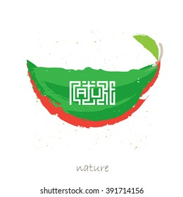 Art poster with inscription Nature in the style of Chinese calligraphy and exotic fruit. Vintage textured tee apparel fashion print, retro t-shirt graphics, custom type design or composition.