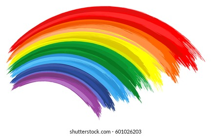 Art rainbow color brush stroke. Painting vector background