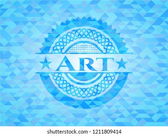 Art realistic light blue emblem. Mosaic background
