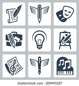 Art related vector icons set: pencraft, dramatics, portfolio, creative, painting, music-making