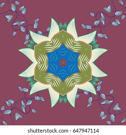Art, round, colorful ornament. Ornate, eastern mandala with colored contour.