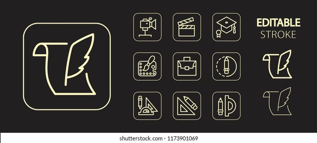 Art, school, education, science, office supplies buttons. Golden icon set. Simple outline web icons. Editable stroke. Vector illustration.