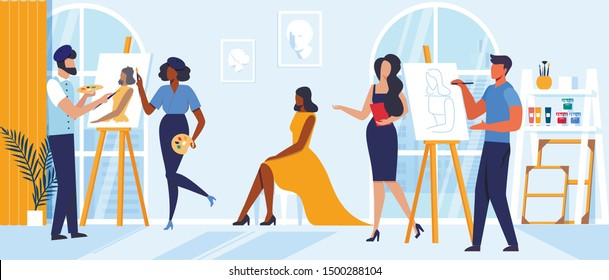 Art School Master Class Flat Vector Illustration. Painting Teachers, Tutors and Student Cartoon Characters. Gifted Men, Artists Drawing Model with Paintbrush and Pencil. Painter Studio Panorama