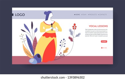 Art school vocal lesson signing up or subscription web page template vector woman singer with microphone singing hobby and skill education online video classes and lessons Internet site mockup