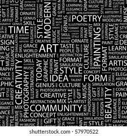 ART. Seamless vector background. Illustration with different association terms.
