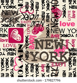 art seamless vector pattern background with word New York