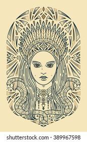 Art secession indian woman face. Ornament style art deco. T-shirt design, book, prints.
