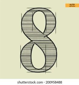 art simple alphabet in vector, classical black handmade font, figure 8