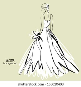 art sketch #3 of beautiful young bride in white dress and with the bride's bouquet. Vector background with space for text.