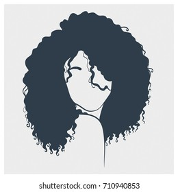 Art sketch of a beautiful woman with curly hair. Concept illustration.