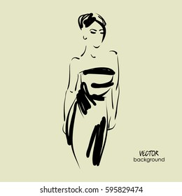 art sketch of  beautiful young  model in cocktail dress. Vector background with space for text. Fashion, style, model. Graphic, freehand drawing. Sexy woman. Party, wedding, bride.