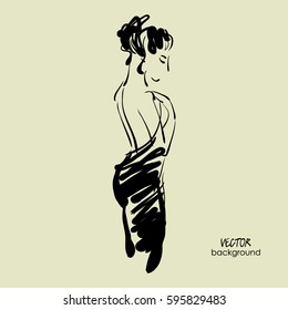 art sketch of  beautiful young  model in cocktail dress in profile. Vector background with space for text. Fashion, style, model. Graphic, freehand drawing. Sexy woman. Party, wedding, bride.