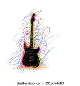 Art sketch of guitar design. Vector illustration