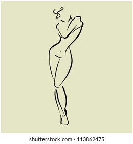 art sketch of standing beautiful young  sexy covering the chest woman topless, vector illustration
