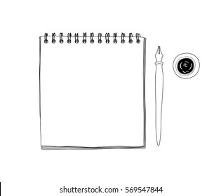art sketchbook Mockup  blank paper and Vintage Dip Ink Nib Pen  hand drawn vector line art  illustration