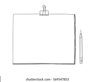 art sketchbook Mockup  blank paper and drawing pencil  hand drawn vector line art  illustration
