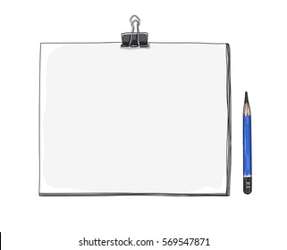 art sketchbook Mockup  blank paper and drawing pencil  hand drawn vector  art  illustration